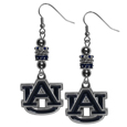 Auburn Tigers Euro Bead Earrings - These beautiful euro style earrings feature 3 euro beads and a detailed Auburn Tigers charm on hypoallergenic fishhook posts.