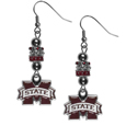 Mississippi St. Bulldogs Euro Bead Earrings - These beautiful euro style earrings feature 3 euro beads and a detailed Mississippi St. Bulldogs charm on hypoallergenic fishhook posts.