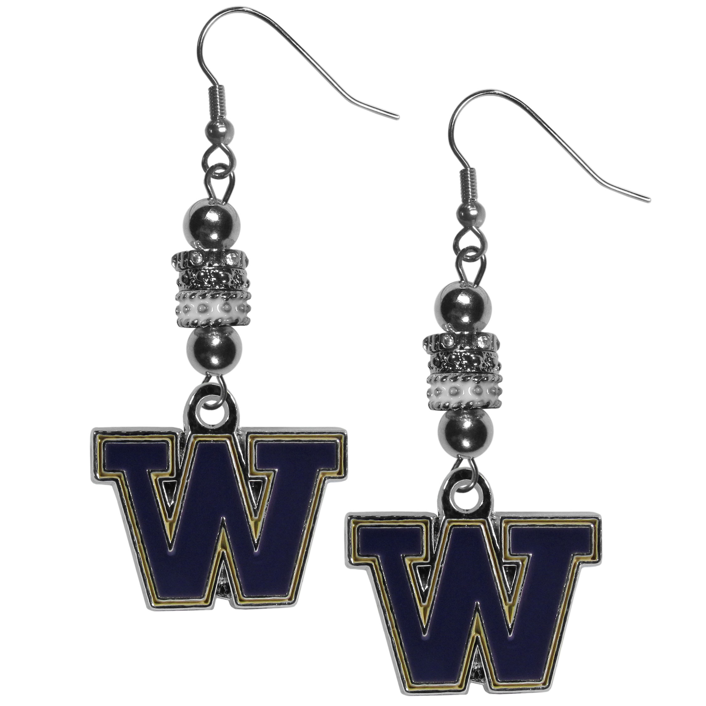 Washington Huskies Euro Bead Earrings - These beautiful euro style earrings feature 3 euro beads and a detailed Washington Huskies charm on hypoallergenic fishhook posts.