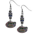 Florida Gators Euro Bead Earrings - These beautiful euro style earrings feature 3 euro beads and a detailed Florida Gators charm on hypoallergenic fishhook posts.