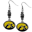 Iowa Hawkeyes Euro Bead Earrings - These beautiful Iowa Hawkeyes State Charm Necklace euro style earrings feature 3 euro beads and a detailed Iowa Hawkeyes charm on hypoallergenic fishhook posts.