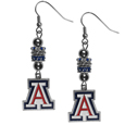 Arizona Wildcats Euro Bead Earrings - These beautiful euro style earrings feature 3 euro beads and a detailed Arizona Wildcats charm on hypoallergenic fishhook posts.