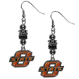Oklahoma St. Cowboys Euro Bead Earrings - These beautiful euro style earrings feature 3 euro beads and a detailed Oklahoma St. Cowboys charm on hypoallergenic fishhook posts.