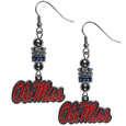 Mississippi Rebels Euro Bead Earrings - These beautiful euro style Mississippi Rebels Euro Bead Earrings feature 3 euro beads and a detailed Mississippi Rebels charm on hypoallergenic fishhook posts.