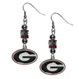 Georgia Bulldogs Euro Bead Earrings - These beautiful Georgia Bulldogs euro bead style earrings feature 3 euro beads and a detailed Georgia Bulldogs charm on hypoallergenic fishhook posts.