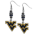 W. Virginia Mountaineers Euro Bead Earrings - These beautiful euro style earrings feature 3 euro beads and a detailed W. Virginia Mountaineers charm on hypoallergenic fishhook posts.