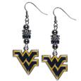W. Virginia Mountaineers Euro Bead Earrings - These beautiful euro style earrings feature 3 euro beads and a detailed W. Virginia Mountaineers charm on hypoallergenic fishhook posts.