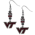 Virginia Tech Hokies Euro Bead Earrings - These beautiful euro style earrings feature 3 euro beads and a detailed Virginia Tech Hokies charm on hypoallergenic fishhook posts.