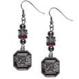 S. Carolina Gamecocks Euro Bead Earrings - These beautiful euro style earrings feature 3 euro beads and a detailed S. Carolina Gamecocks charm on hypoallergenic fishhook posts.