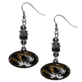 Missouri Tigers Euro Bead Earrings - These beautiful euro style earrings feature 3 euro beads and a detailed Missouri Tigers charm on hypoallergenic fishhook posts.