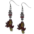 Arizona St. Sun Devils Euro Bead Earrings - These beautiful euro style earrings feature 3 euro beads and a detailed Arizona St. Sun Devils charm on hypoallergenic fishhook posts.