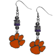 Clemson Tigers Euro Bead Earrings - These beautiful euro style earrings feature 3 euro beads and a detailed Clemson Tigers charm on hypoallergenic fishhook posts.