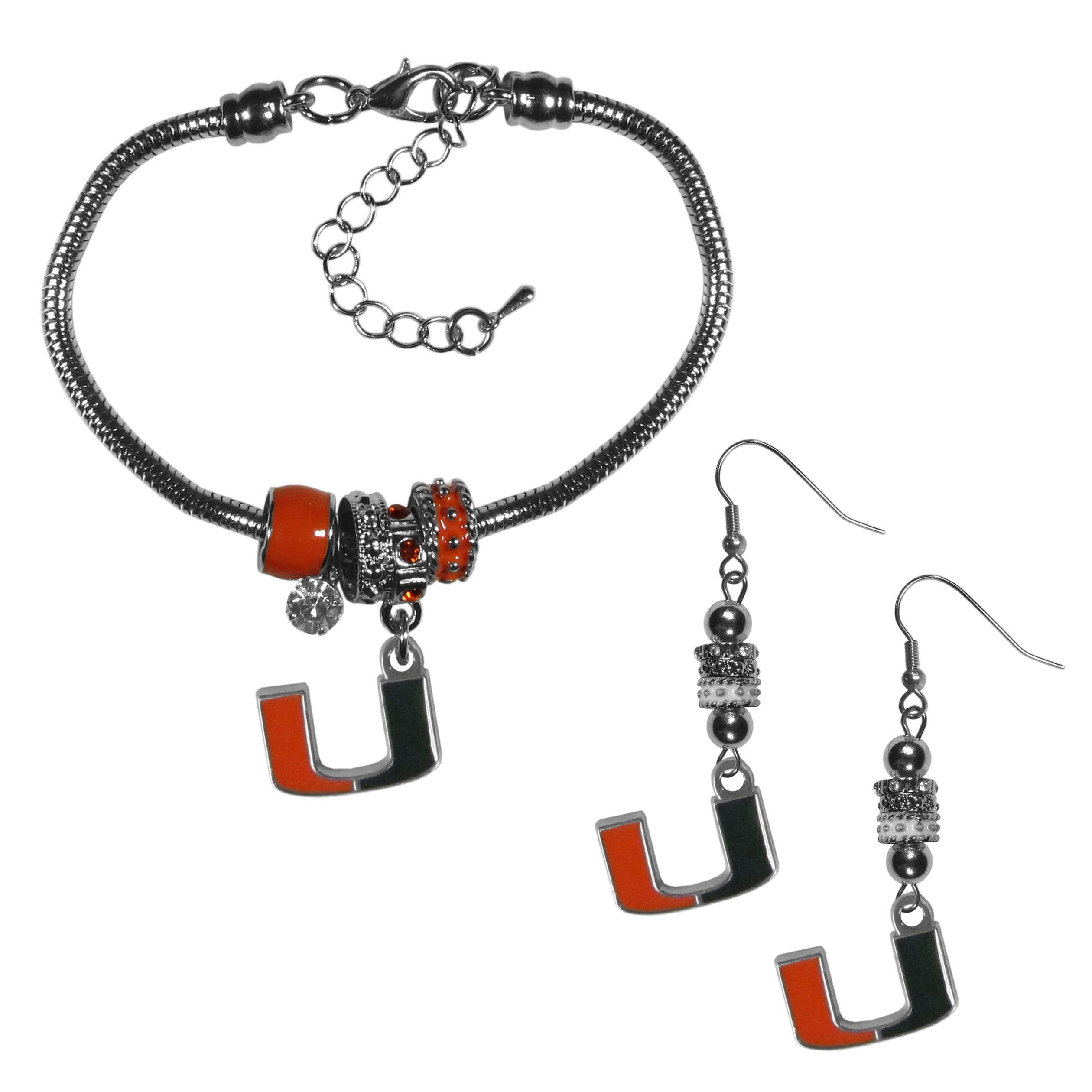 Miami Hurricanes Euro Bead Earrings and Bracelet Set - We combine the popular Euro bead style with your love of the Miami Hurricanes with this beautiful jewelry set that includes earrings and a matching bracelet. The stylish earrings feature hypoallergenic, nickel free fishhook posts and 3 team colored Euro beads and a metal team charm. The matching snake chain bracelet is 7.5 inches long with a 2 inch extender and 4 Euro beads with a rhinestone charm and team charm.