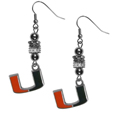 Miami Hurricanes Euro Bead Earrings - These beautiful euro style Miami Hurricanes Euro Bead Earrings feature 3 euro beads and a detailed Miami Hurricanes charm on hypoallergenic fishhook posts.