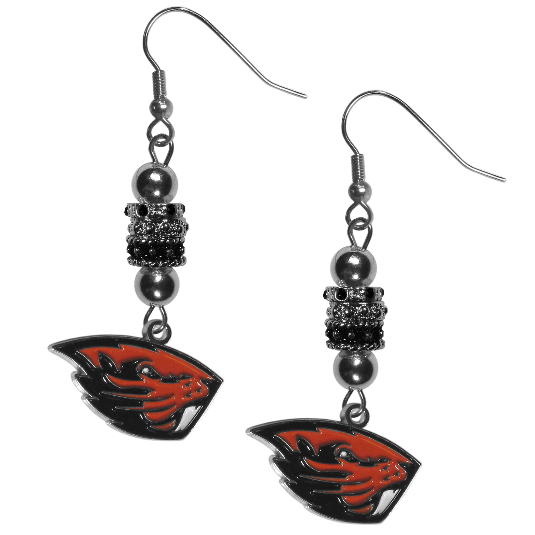 Oregon St. Beavers Euro Bead Earrings - These beautiful euro style earrings feature 3 euro beads and a detailed Oregon St. Beavers charm on hypoallergenic fishhook posts.