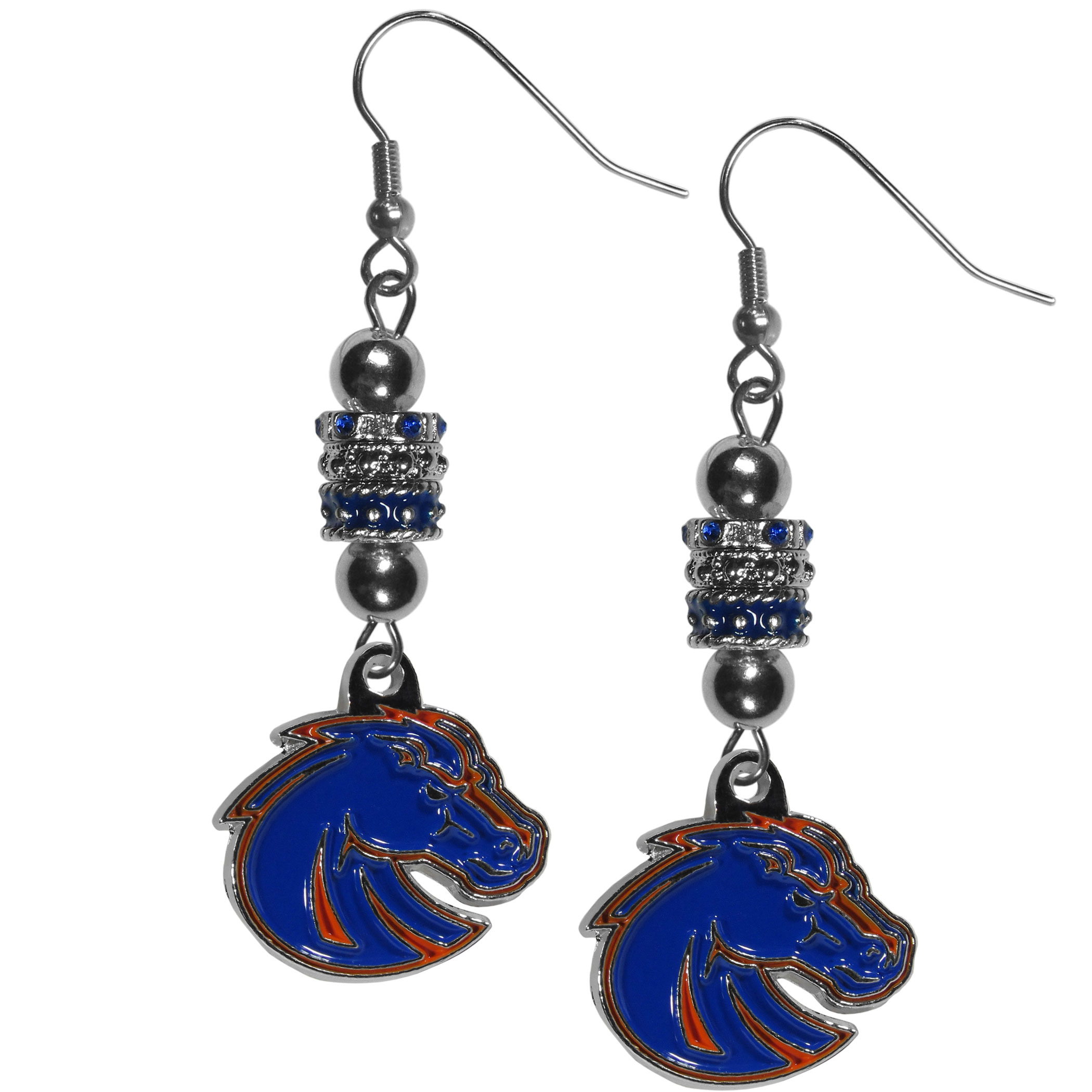 Boise St. Broncos Euro Bead Earrings - These beautiful euro style earrings feature 3 euro beads and a detailed Boise St. Broncos charm on hypoallergenic fishhook posts.