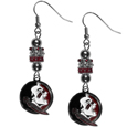 Florida St. Seminoles Euro Bead Earrings - These beautiful euro style earrings feature 3 euro beads and a detailed Florida St. Seminoles charm on hypoallergenic fishhook posts.