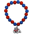 Fresno St. Bulldogs Fan Bead Bracelet - Flash your Fresno St. Bulldogs spirit with this bright stretch bracelet. This new bracelet features multicolored team beads on stretch cord with a nickel-free enameled chrome team charm. This bracelet adds the perfect pop of color to your game day accessories.