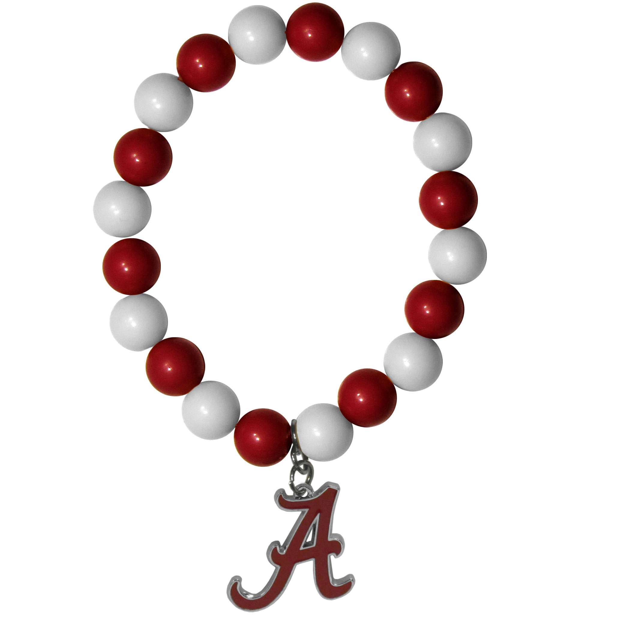 Alabama Crimson Tide Fan Bead Bracelet - Flash your Alabama Crimson Tide spirit with this bright stretch bracelet. This new bracelet features multicolored team beads on stretch cord with a nickel-free enameled chrome team charm. This bracelet adds the perfect pop of color to your game day accessories.