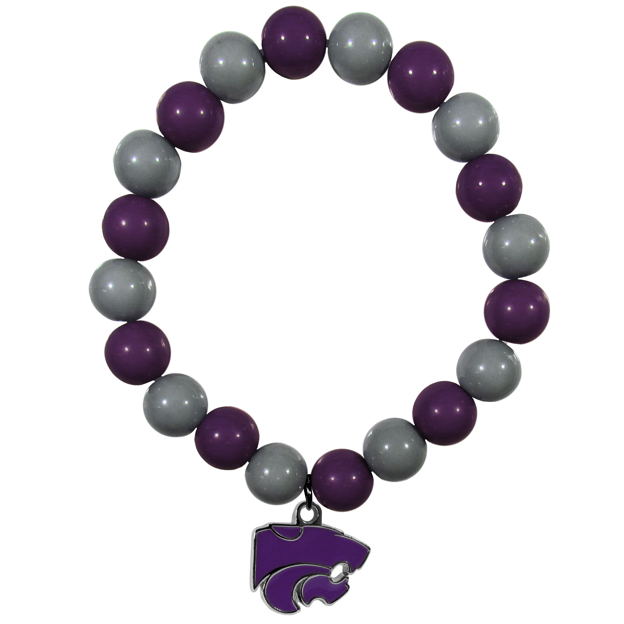 Kansas St. Wildcats Fan Bead Bracelet - Flash your Kansas St. Wildcats spirit with this bright stretch bracelet. This new bracelet features multicolored team beads on stretch cord with a nickel-free enameled chrome team charm. This bracelet adds the perfect pop of color to your game day accessories.
