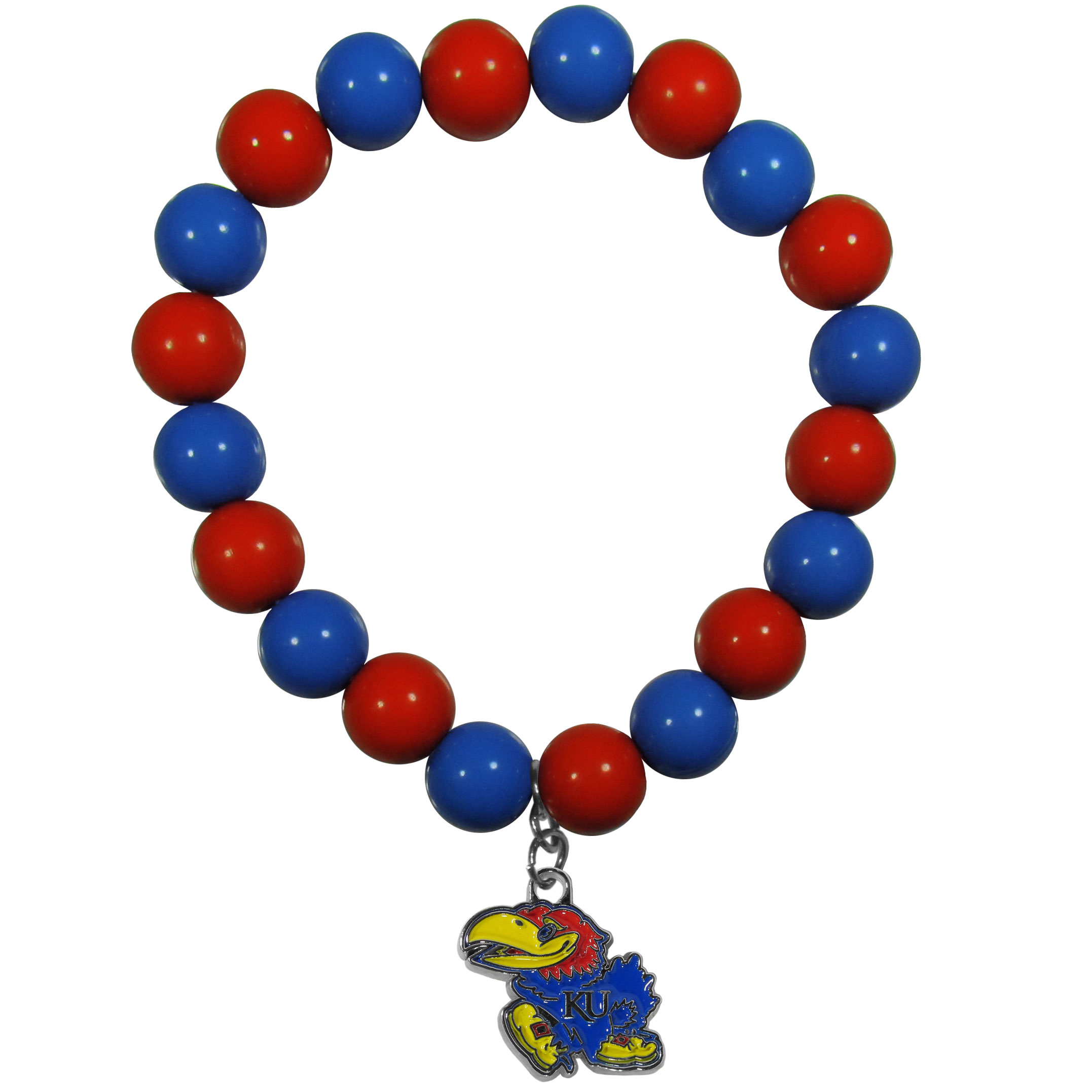 Kansas Jayhawks Fan Bead Bracelet - Flash your Kansas Jayhawks spirit with this bright stretch bracelet. This new bracelet features multicolored team beads on stretch cord with a nickel-free enameled chrome team charm. This bracelet adds the perfect pop of color to your game day accessories.