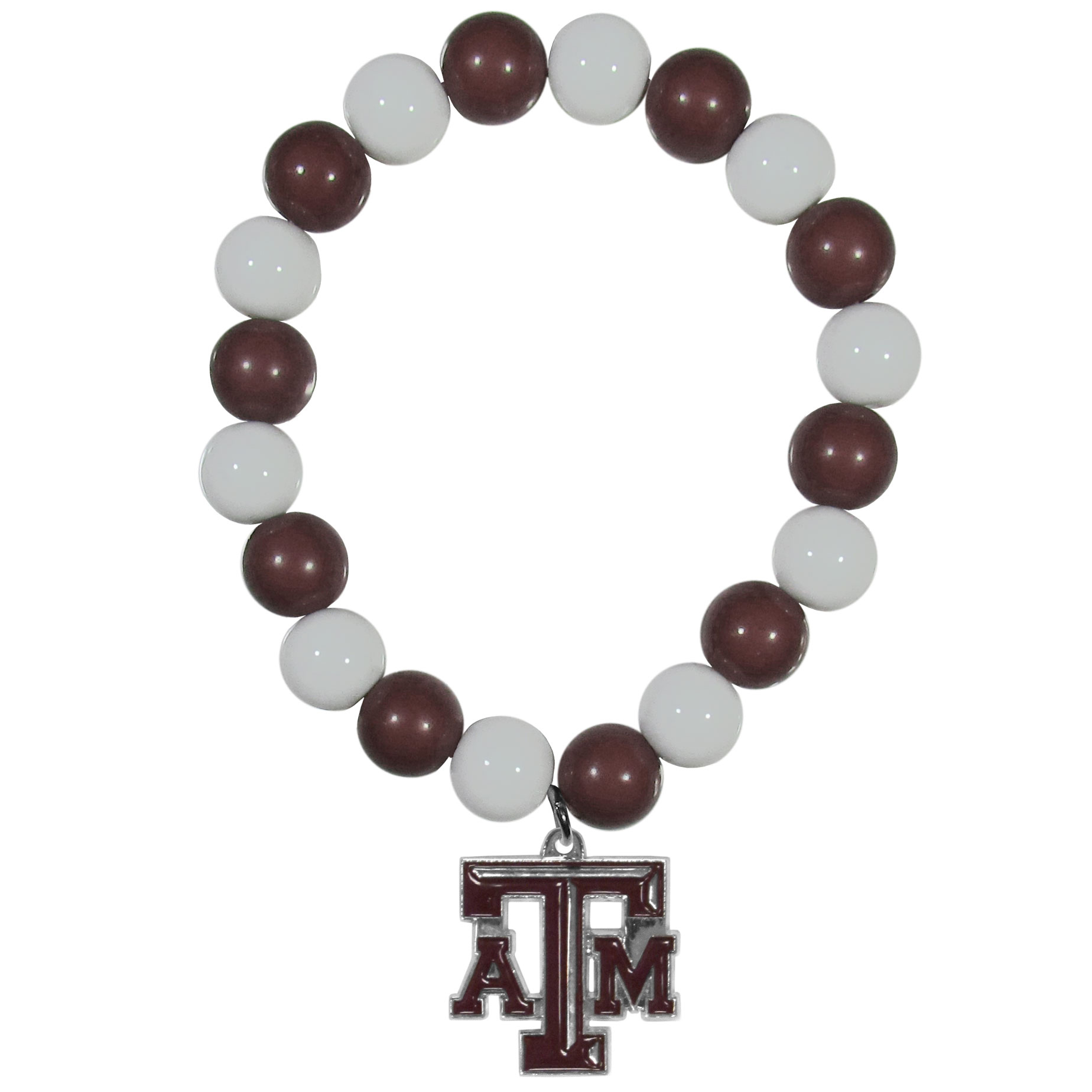 Texas A and M Aggies Fan Bead Bracelet - Flash your Texas A & M Aggies spirit with this bright stretch bracelet. This new bracelet features multicolored team beads on stretch cord with a nickel-free enameled chrome team charm. This bracelet adds the perfect pop of color to your game day accessories.