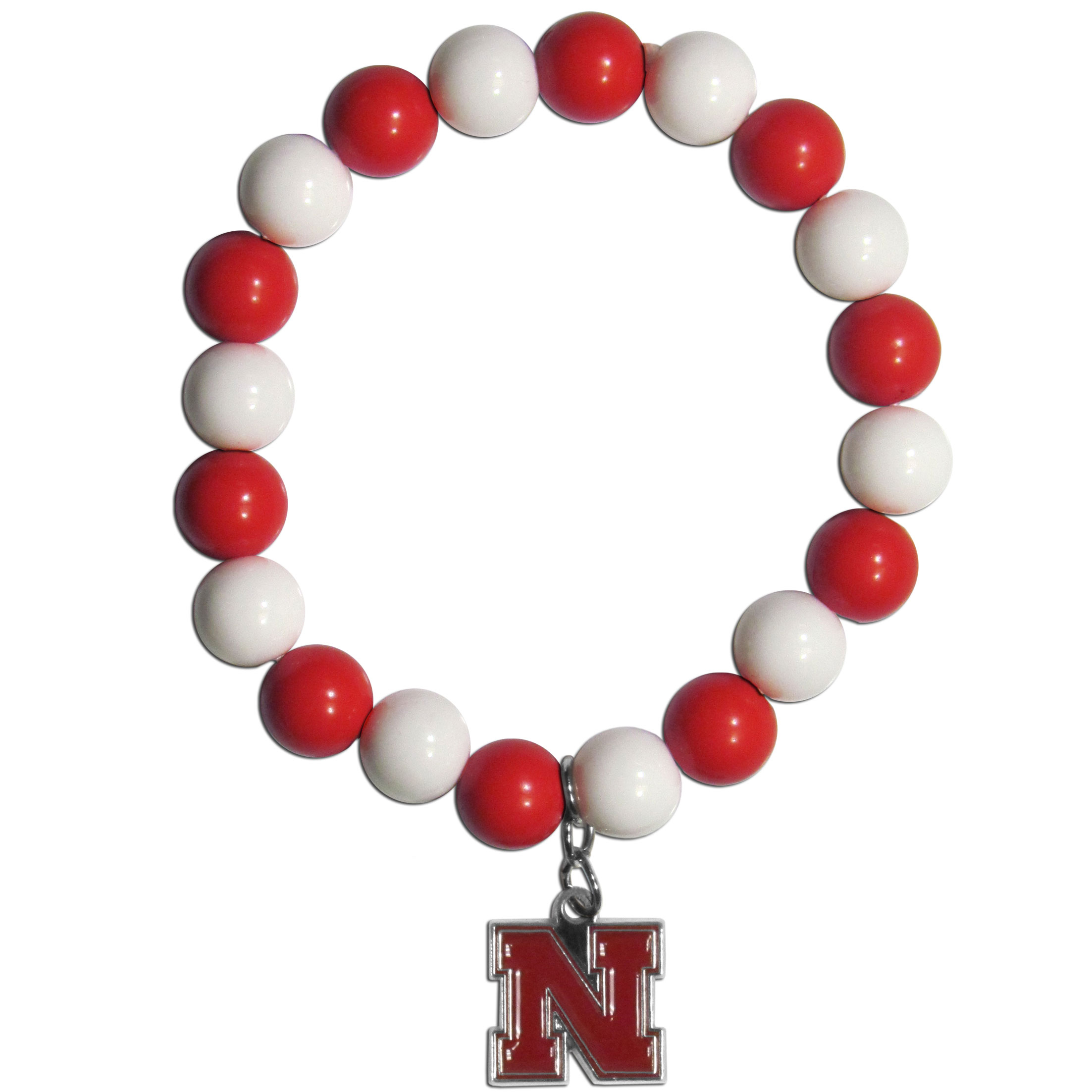 Nebraska Cornhuskers Fan Bead Bracelet - Flash your Nebraska Cornhuskers spirit with this bright stretch bracelet. This new bracelet features multicolored team beads on stretch cord with a nickel-free enameled chrome team charm. This bracelet adds the perfect pop of color to your game day accessories.