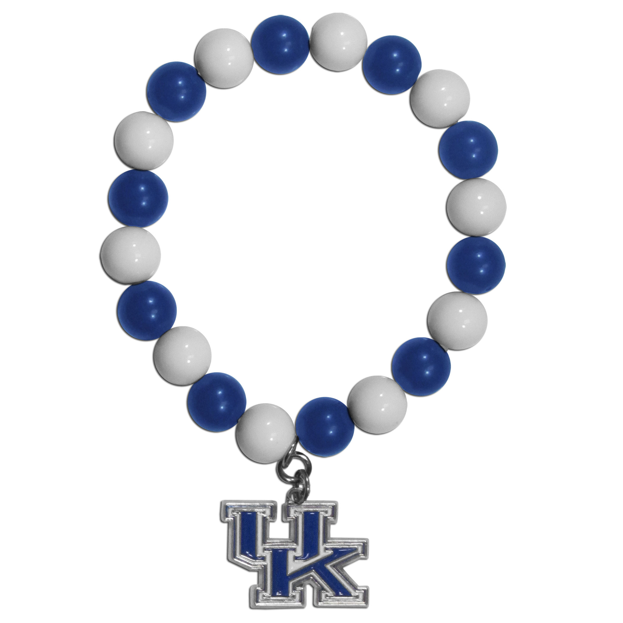 Kentucky Wildcats Fan Bead Bracelet - Flash your Kentucky Wildcats spirit with this bright stretch bracelet. This new bracelet features multicolored team beads on stretch cord with a nickel-free enameled chrome team charm. This bracelet adds the perfect pop of color to your game day accessories.