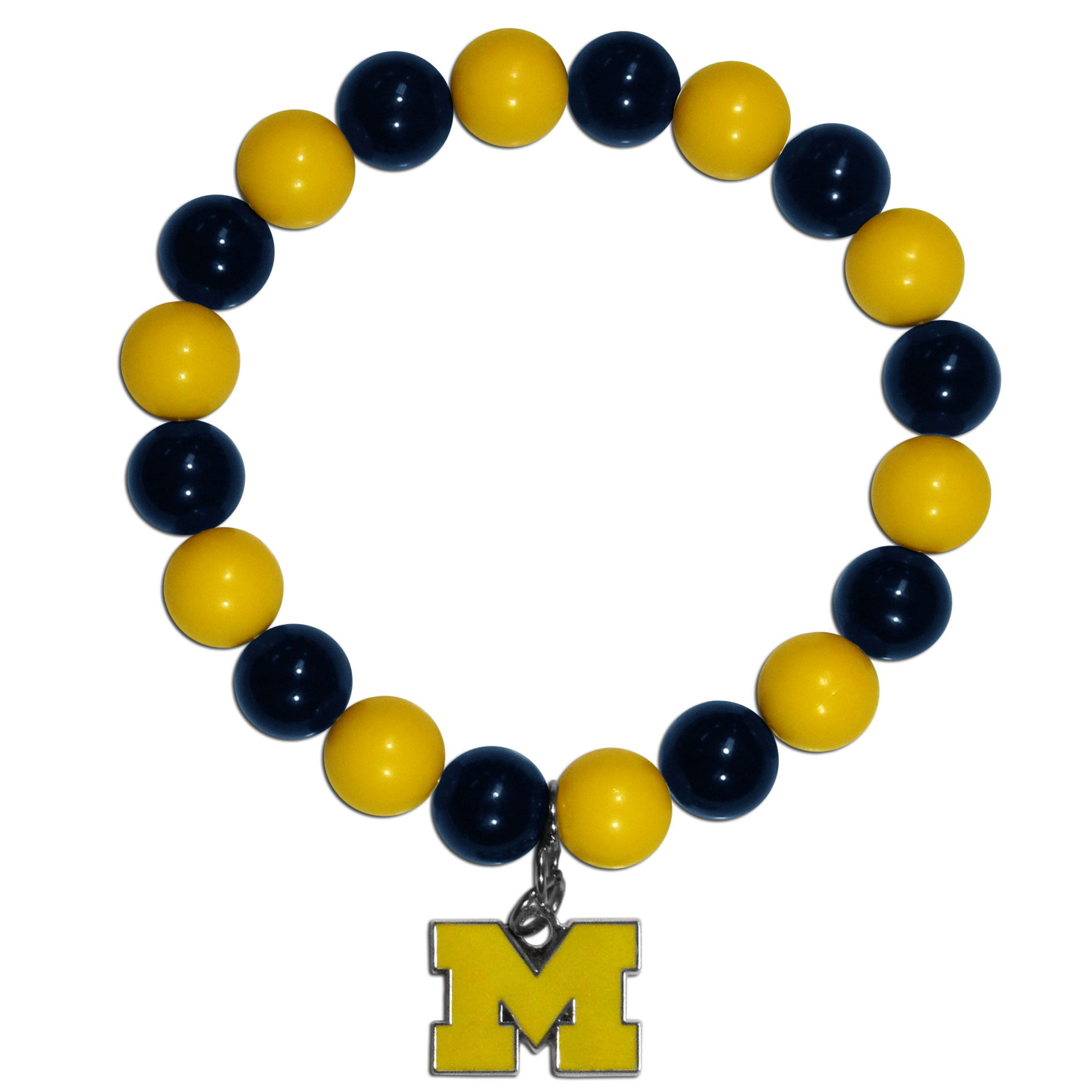 Michigan Wolverines Fan Bead Bracelet - Flash your Michigan Wolverines spirit with this bright stretch bracelet. This new bracelet features multicolored team beads on stretch cord with a nickel-free enameled chrome team charm. This bracelet adds the perfect pop of color to your game day accessories.