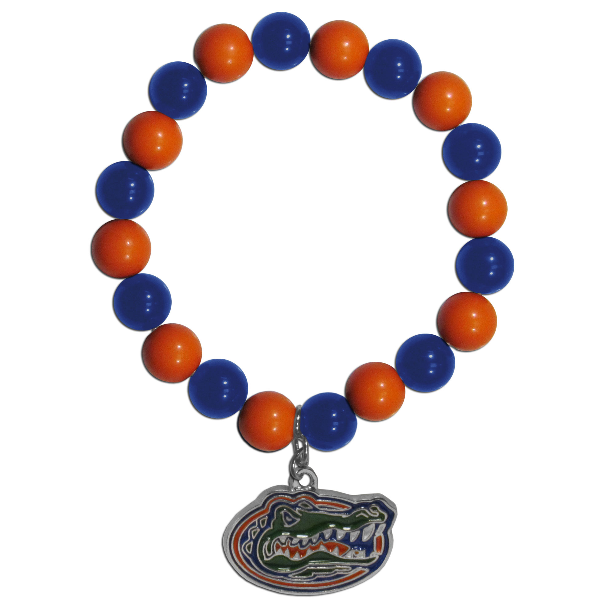 Florida Gators Fan Bead Bracelet - Flash your Florida Gators spirit with this bright stretch bracelet. This new bracelet features multicolored team beads on stretch cord with a nickel-free enameled chrome team charm. This bracelet adds the perfect pop of color to your game day accessories.