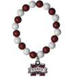 Mississippi St. Bulldogs Fan Bead Bracelet - Flash your Mississippi St. Bulldogs spirit with this bright stretch bracelet. This new bracelet features multicolored team beads on stretch cord with a nickel-free enameled chrome team charm. This bracelet adds the perfect pop of color to your game day accessories.