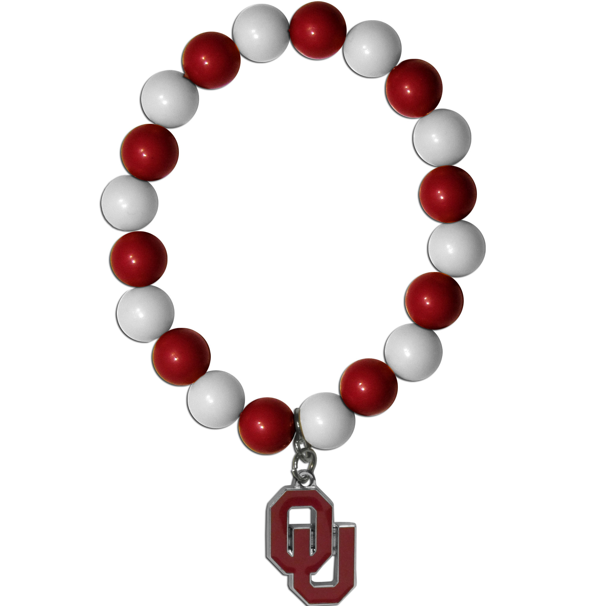 Oklahoma Sooners Fan Bead Bracelet - Flash your Oklahoma Sooners spirit with this bright stretch bracelet. This new bracelet features multicolored team beads on stretch cord with a nickel-free enameled chrome team charm. This bracelet adds the perfect pop of color to your game day accessories.