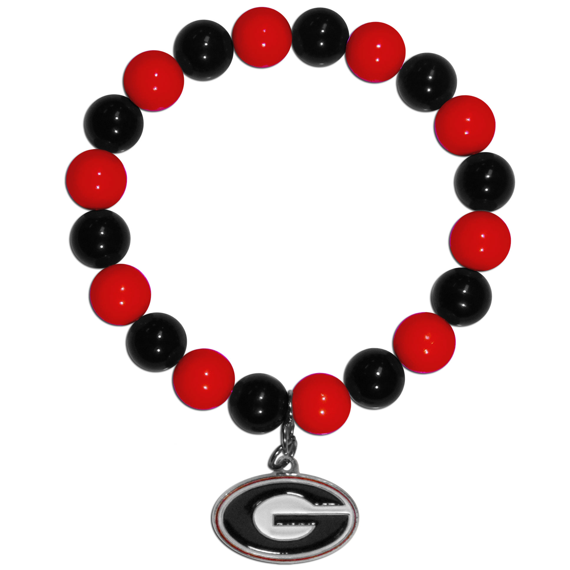Georgia Bulldogs Fan Bead Bracelet - Flash your Georgia Bulldogs spirit with this bright stretch bracelet. This new bracelet features multicolored team beads on stretch cord with a nickel-free enameled chrome team charm. This bracelet adds the perfect pop of color to your game day accessories.