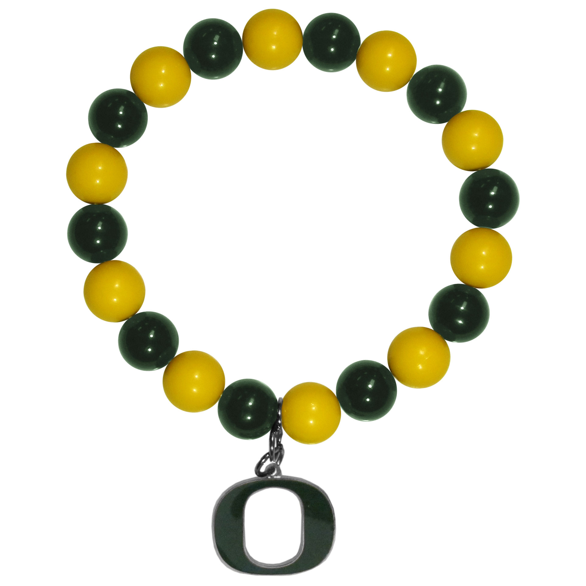 Oregon Ducks Fan Bead Bracelet - Flash your Oregon Ducks spirit with this bright stretch bracelet. This new bracelet features multicolored team beads on stretch cord with a nickel-free enameled chrome team charm. This bracelet adds the perfect pop of color to your game day accessories.