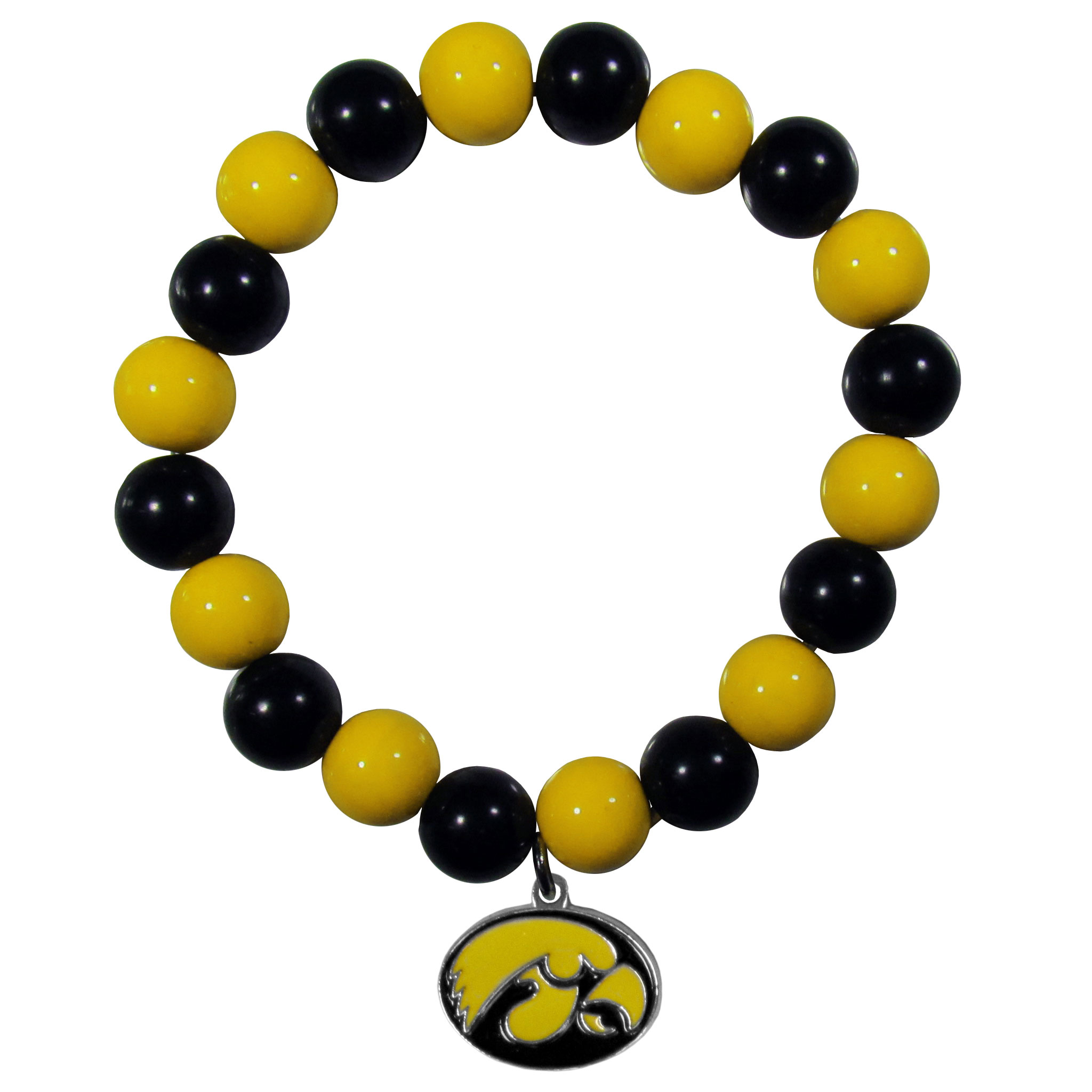 Iowa Hawkeyes Fan Bead Bracelet - Flash your Iowa Hawkeyes spirit with this bright stretch bracelet. This new bracelet features multicolored team beads on stretch cord with a nickel-free enameled chrome team charm. This bracelet adds the perfect pop of color to your game day accessories.