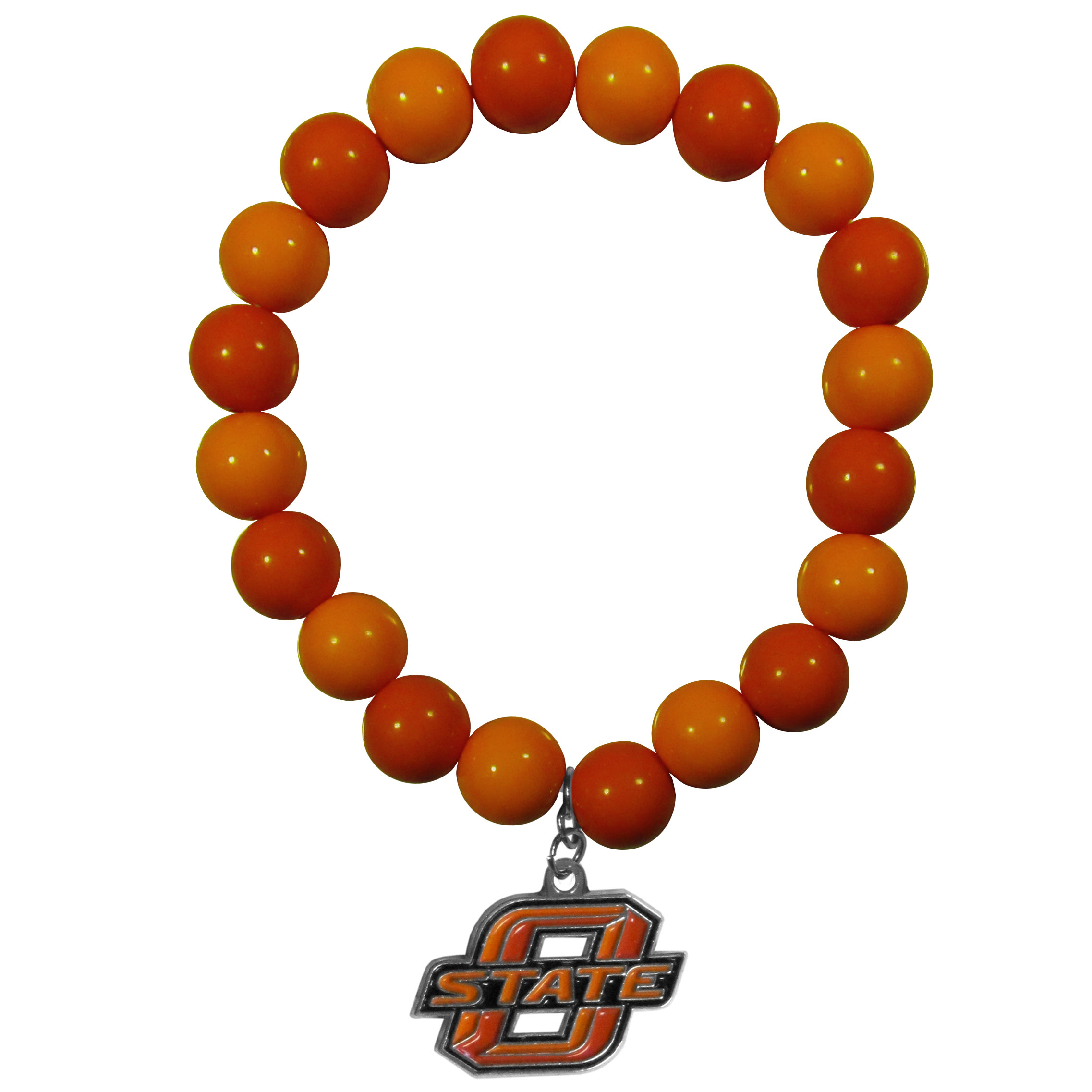 Oklahoma St. Cowboys Fan Bead Bracelet - Flash your Oklahoma St. Cowboys spirit with this bright stretch bracelet. This new bracelet features multicolored team beads on stretch cord with a nickel-free enameled chrome team charm. This bracelet adds the perfect pop of color to your game day accessories.