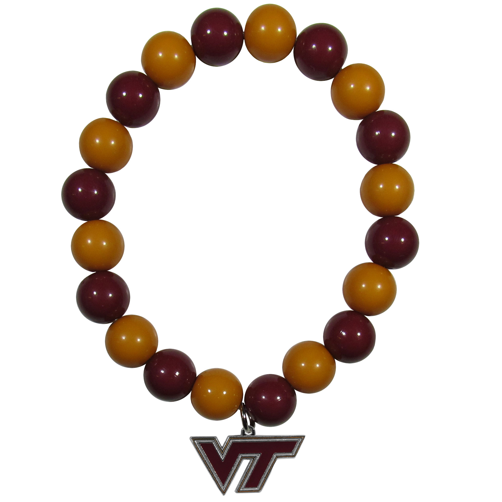 Virginia Tech Hokies Fan Bead Bracelet - Flash your Virginia Tech Hokies spirit with this bright stretch bracelet. This new bracelet features multicolored team beads on stretch cord with a nickel-free enameled chrome team charm. This bracelet adds the perfect pop of color to your game day accessories.