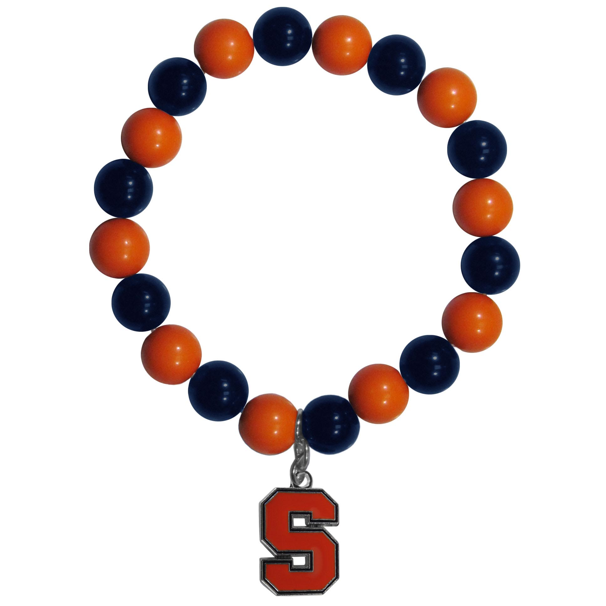 Syracuse Orange Fan Bead Bracelet - Flash your Syracuse Orange spirit with this bright stretch bracelet. This new bracelet features multicolored team beads on stretch cord with a nickel-free enameled chrome team charm. This bracelet adds the perfect pop of color to your game day accessories.