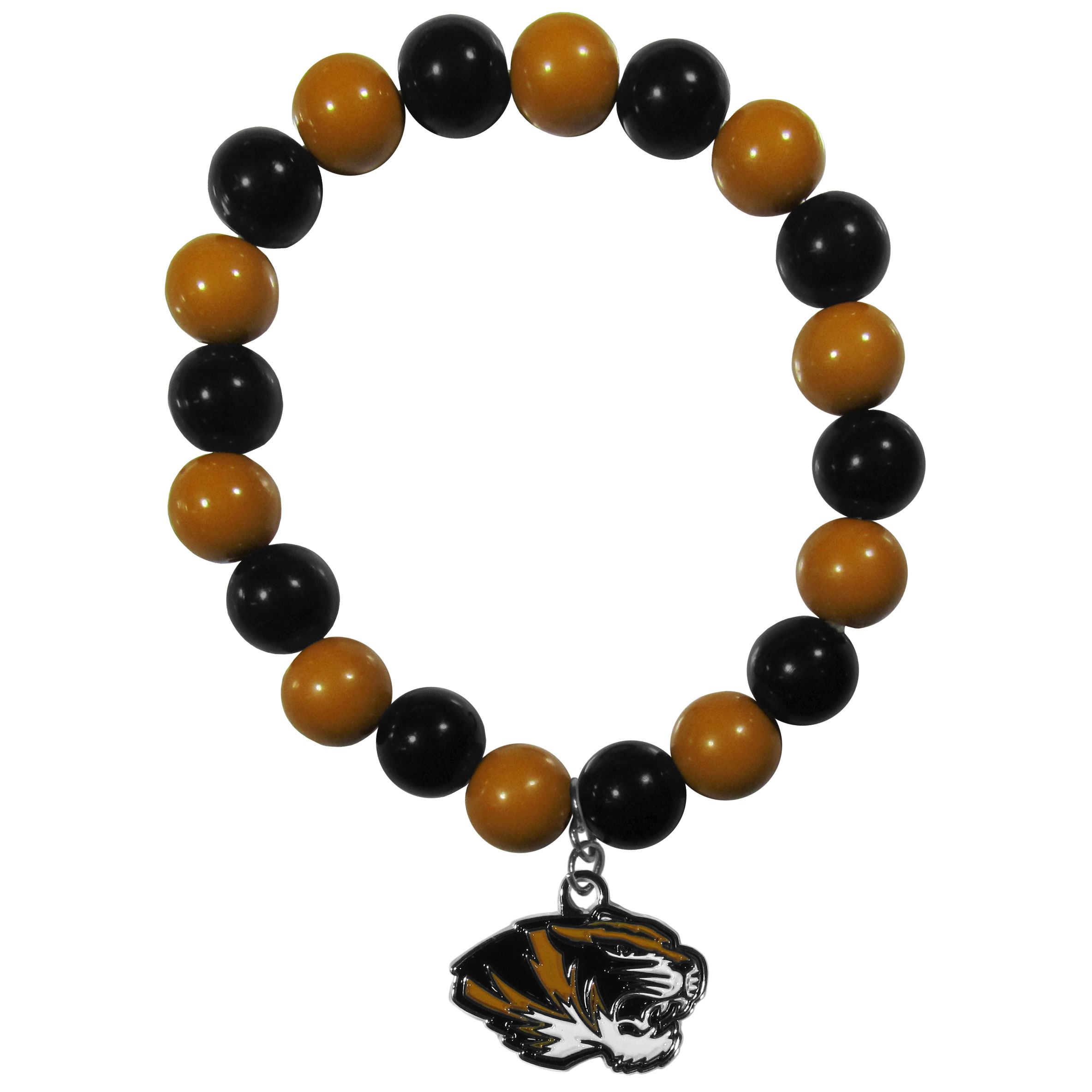 Missouri Tigers Fan Bead Bracelet - Flash your Missouri Tigers spirit with this bright stretch bracelet. This new bracelet features multicolored team beads on stretch cord with a nickel-free enameled chrome team charm. This bracelet adds the perfect pop of color to your game day accessories.