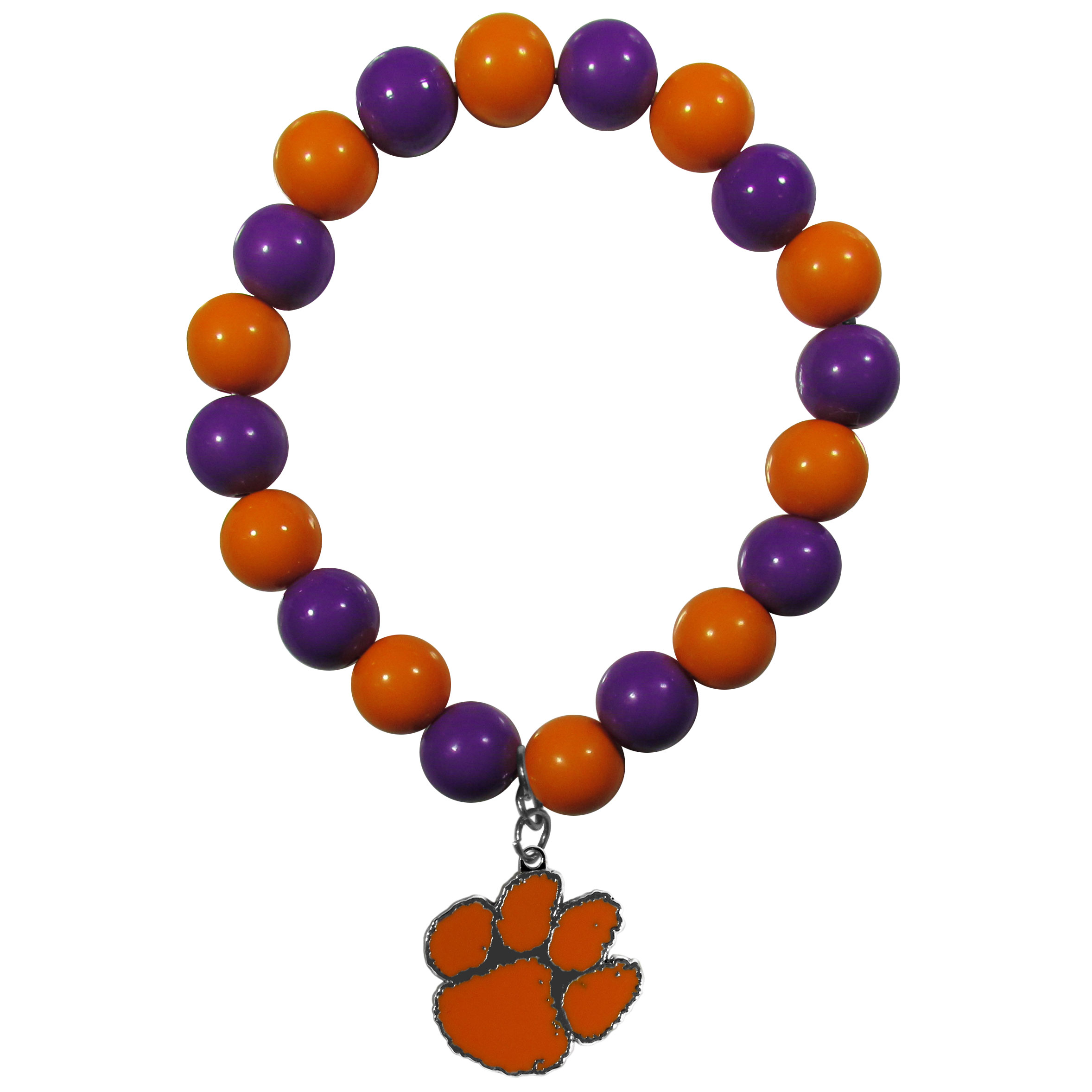 Clemson Tigers Fan Bead Bracelet - Flash your Clemson Tigers spirit with this bright stretch bracelet. This new bracelet features multicolored team beads on stretch cord with a nickel-free enameled chrome team charm. This bracelet adds the perfect pop of color to your game day accessories.