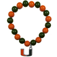 Miami Hurricanes Fan Bead Bracelet - Flash your Miami Hurricanes spirit with this bright Miami Hurricanes Fan Bead Bracelet. This Miami Hurricanes Fan Bead Bracelet features multicolored team beads on stretch cord with a nickel-free enameled chrome team charm. This Miami Hurricanes Fan Bead Bracelet adds the perfect pop of color to your game day accessories.
