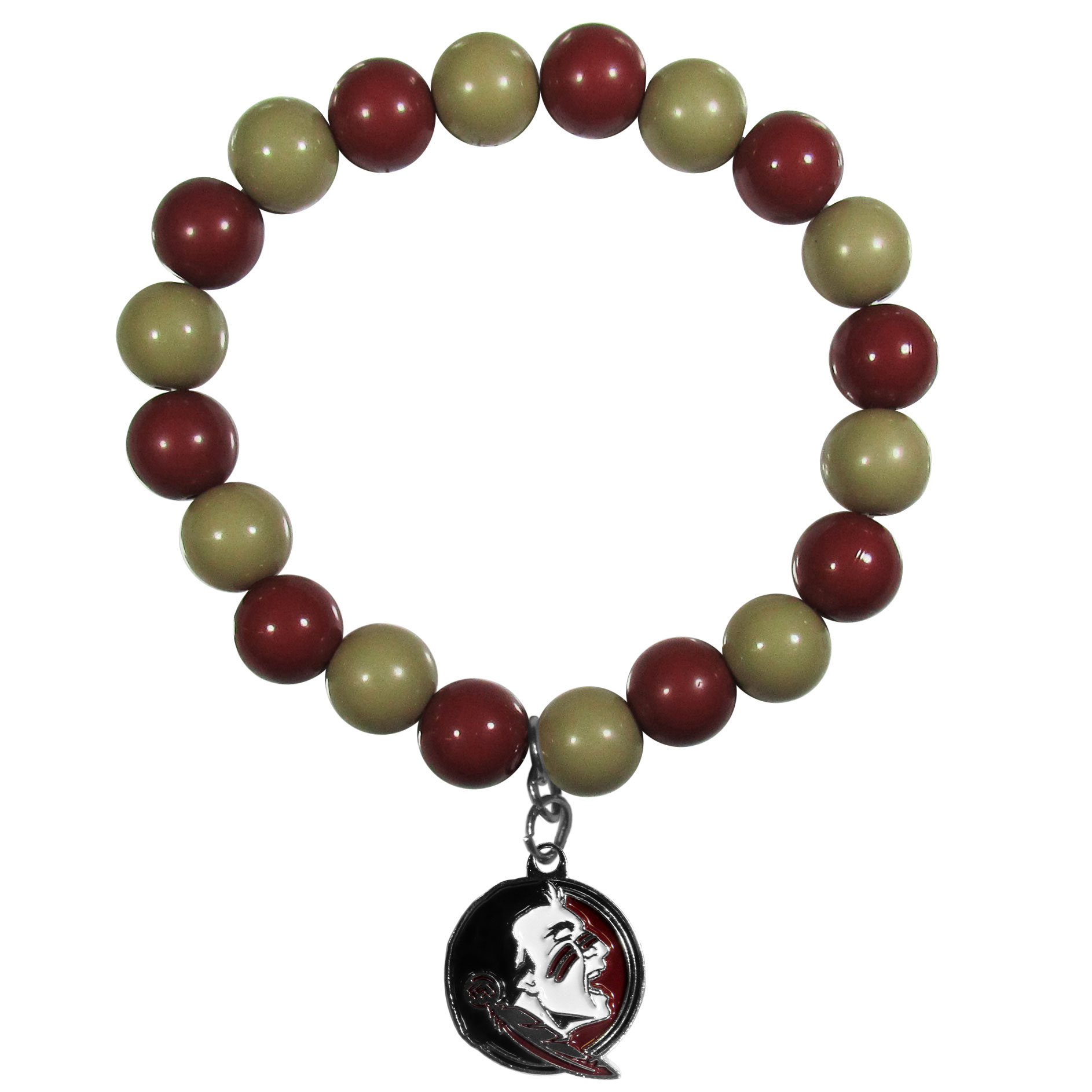 Florida St. Seminoles Fan Bead Bracelet - Flash your Florida St. Seminoles spirit with this bright stretch bracelet. This new bracelet features multicolored team beads on stretch cord with a nickel-free enameled chrome team charm. This bracelet adds the perfect pop of color to your game day accessories.