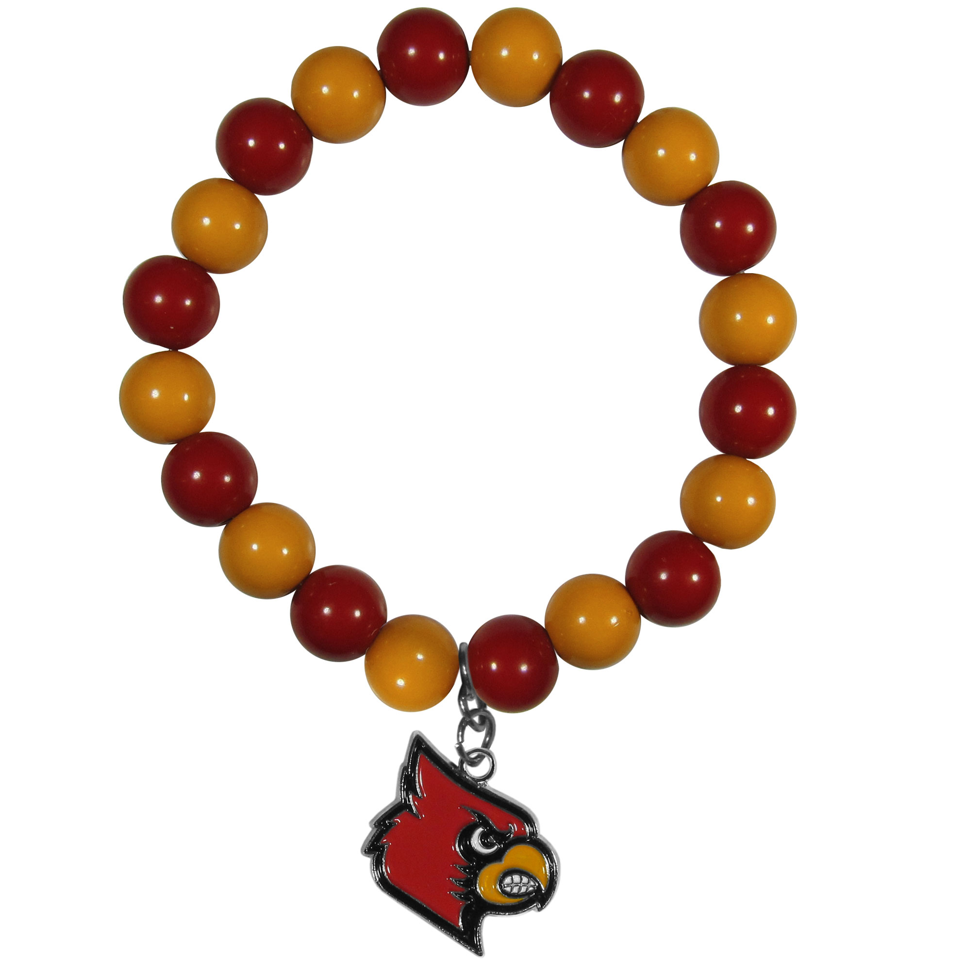 Louisville Cardinals Fan Bead Bracelet - Flash your Louisville Cardinals spirit with this bright stretch bracelet. This new bracelet features multicolored team beads on stretch cord with a nickel-free enameled chrome team charm. This bracelet adds the perfect pop of color to your game day accessories.