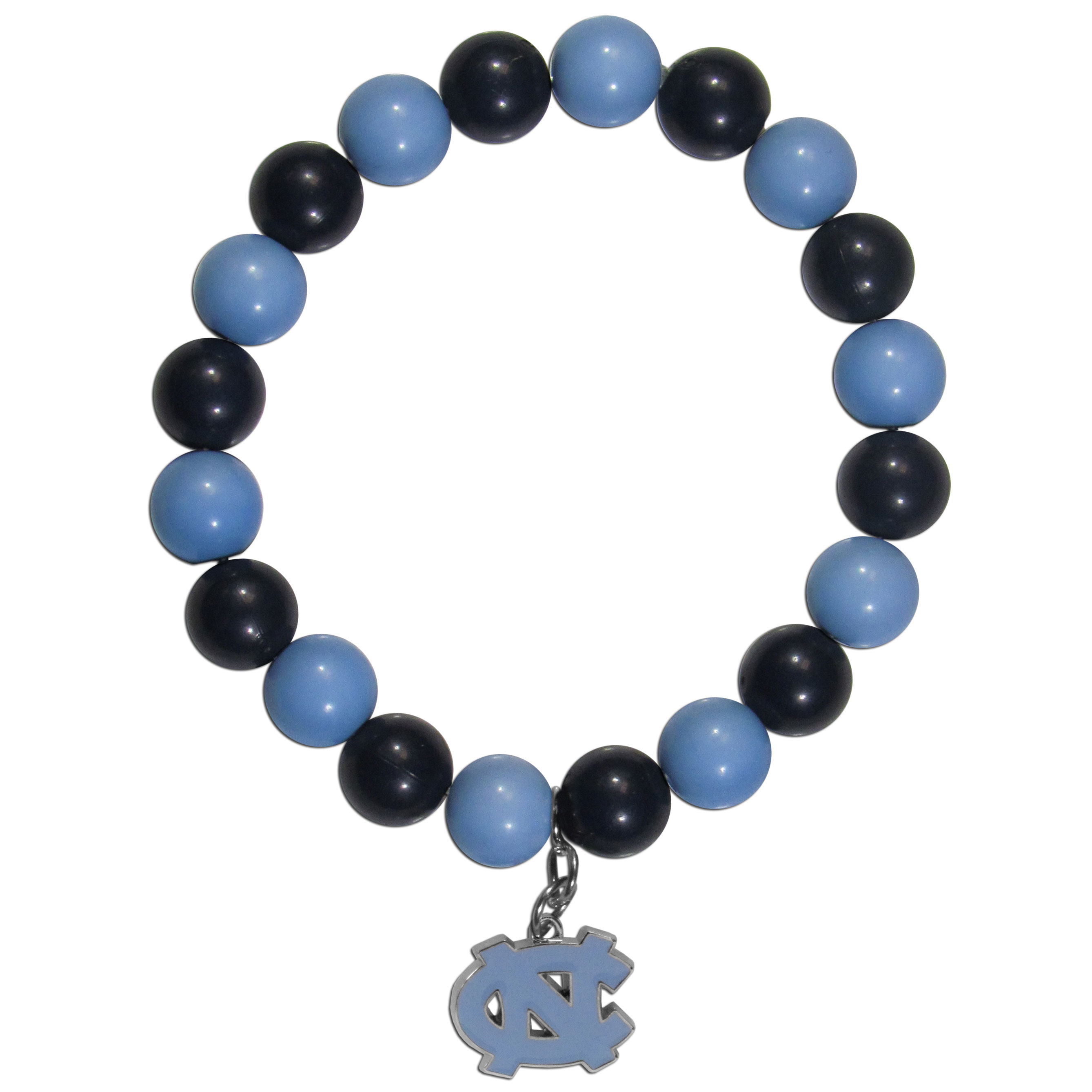 N. Carolina Tar Heels Fan Bead Bracelet - Flash your N. Carolina Tar Heels spirit with this bright stretch bracelet. This new bracelet features multicolored team beads on stretch cord with a nickel-free enameled chrome team charm. This bracelet adds the perfect pop of color to your game day accessories.