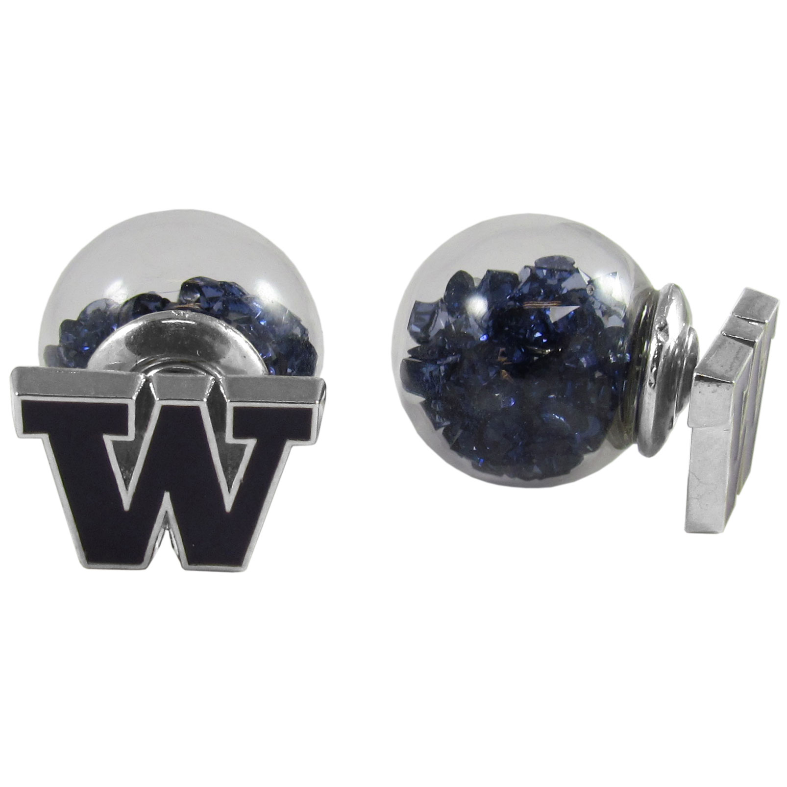 Washington Huskies Front/Back Earrings - Get in on one of the most popular trends in jewelry, front and back earrings! This must-have style is all of over the red carpets and we taken this contemporary look and paired it with your love of the Washington Huskies! The front of the earring is a sporty team logo and the back of these eye-catching earrings is a glass ball filled with colored crystal beads. This piece is perfect for a fashion-forward fan, with bold taste and trend-setting style.