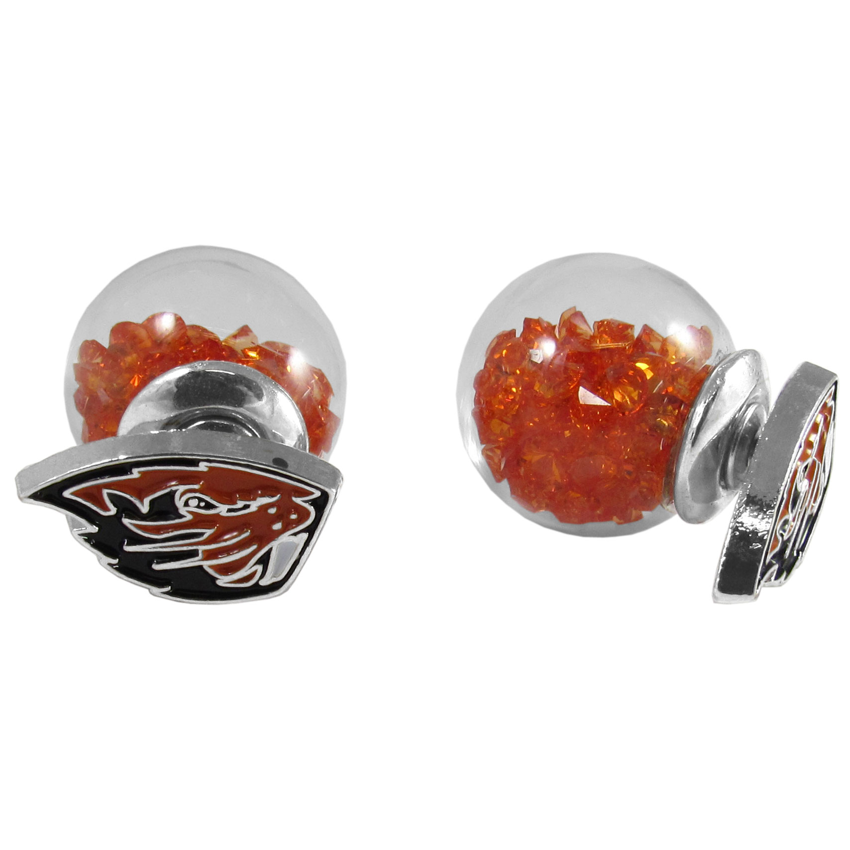 Oregon St. Beavers Front/Back Earrings - Get in on one of the most popular trends in jewelry, front and back earrings! This must-have style is all of over the red carpets and we taken this contemporary look and paired it with your love of the Oregon St. Beavers! The front of the earring is a sporty team logo and the back of these eye-catching earrings is a glass ball filled with colored crystal beads. This piece is perfect for a fashion-forward fan, with bold taste and trend-setting style.