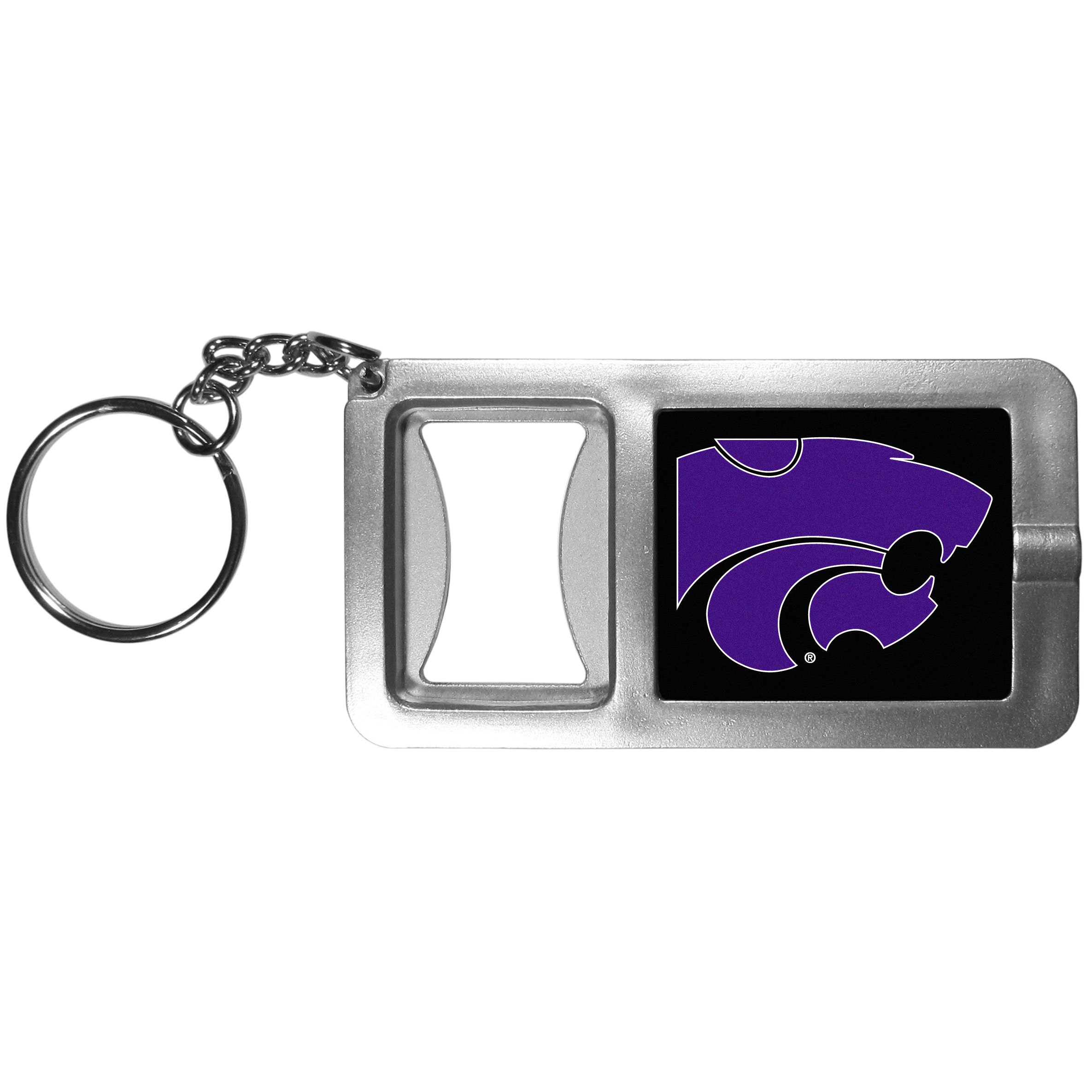Kansas St. Wildcats Flashlight Key Chain with Bottle Opener - Never be without light with our Kansas St. Wildcats flashlight keychain that features a handy bottle opener feature. This versatile key chain is perfect for camping and travel and is a great way to show off your team pride!