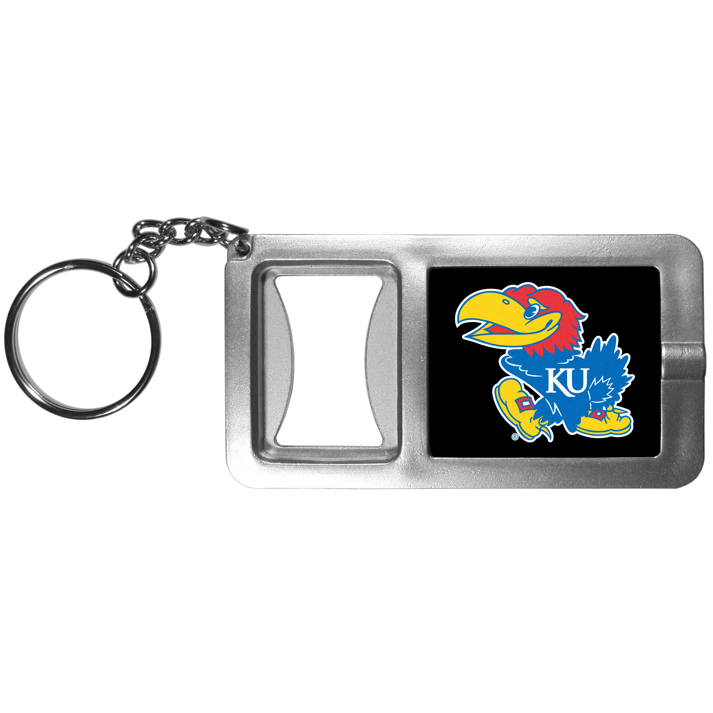 Kansas Jayhawks Flashlight Key Chain with Bottle Opener - Never be without light with our Kansas Jayhawks flashlight keychain that features a handy bottle opener feature. This versatile key chain is perfect for camping and travel and is a great way to show off your team pride!