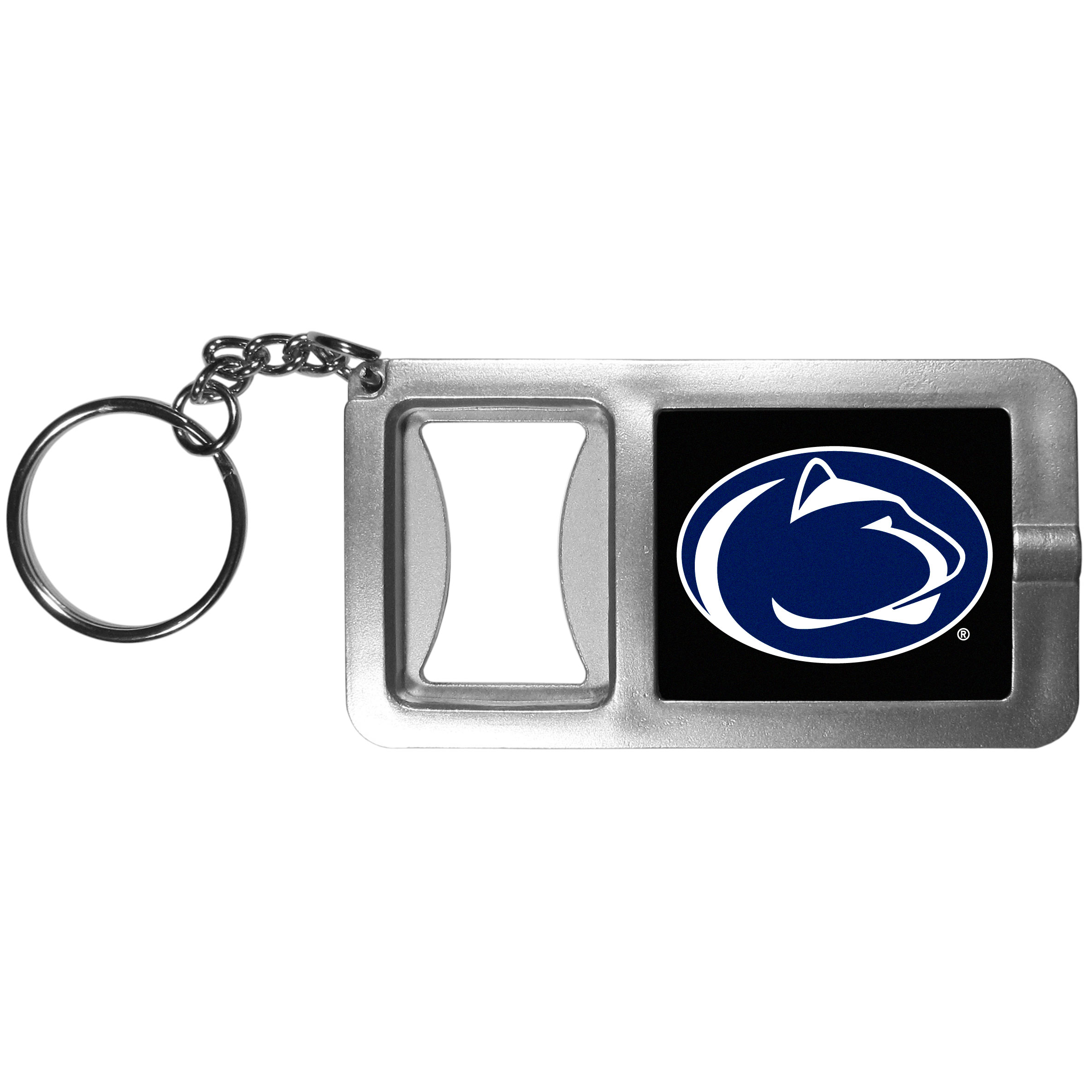 Penn St. Nittany Lions Flashlight Key Chain with Bottle Opener - Never be without light with our Penn St. Nittany Lions flashlight keychain that features a handy bottle opener feature. This versatile key chain is perfect for camping and travel and is a great way to show off your team pride!