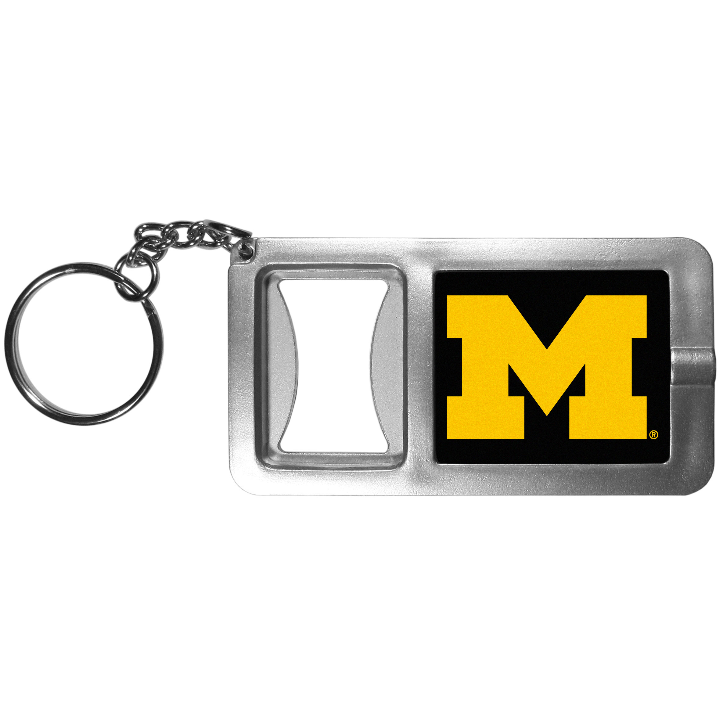 Michigan Wolverines Flashlight Key Chain with Bottle Opener - Never be without light with our Michigan Wolverines flashlight keychain that features a handy bottle opener feature. This versatile key chain is perfect for camping and travel and is a great way to show off your team pride!